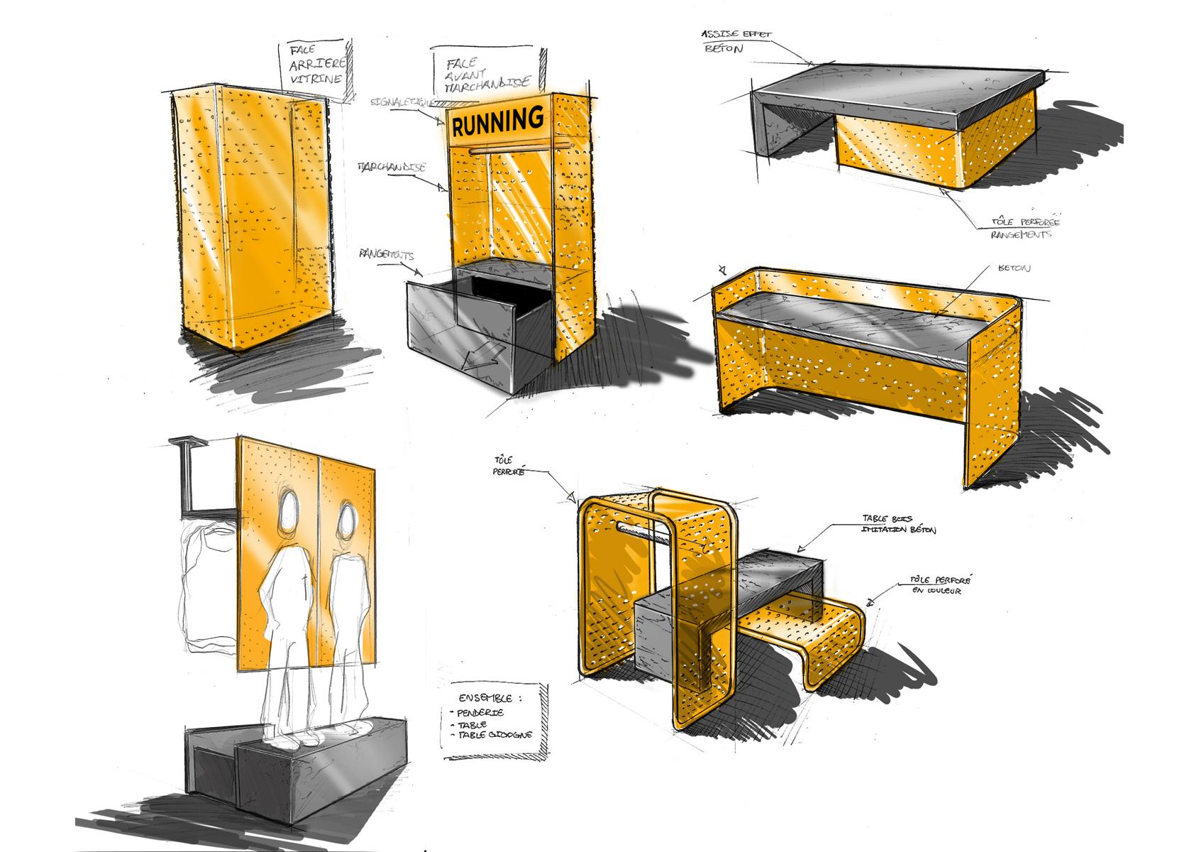 Magasin de sport for Replique mobilier design
